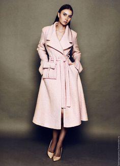 Верхняя одежда ручной работы. Ярмарка Мастеров - ручная работа. Купить Пальто приталенное на пояске. Handmade. Розовый, пальто