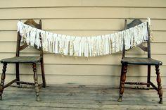 my blog. DIY gold fringe banner.