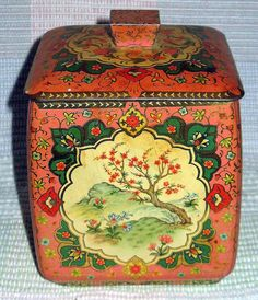 Vintage Dogwood Flower Design Tin Container - Metal Box Company Made In England