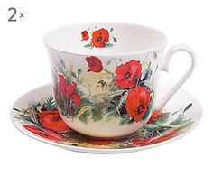 2 Tasses à POPPY thé porcelaine, multicolore - 450 ml