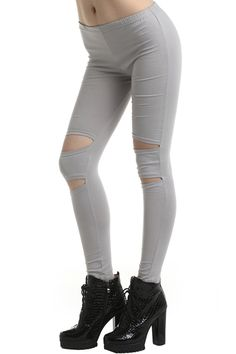 Shreded Light-grey Leggings #Romwe
