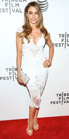 SOFIA VERGARA What do you get when you combine Sofia and white lace? Major sex appeal. The actress shows plenty of cleavage and a hint of thigh in a silk and sheer Zuhair Murad dress at the Tribeca Film Festival premiere of Chef in N.Y.C.
