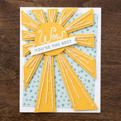 The Sunburst Sayings stamp set and coordinating Sunburst Thinlit are the perfect pairing to make projects to brighten anyone's day!