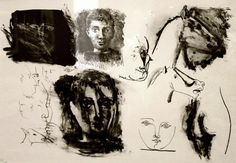 dionyssos: Pablo Picasso , page of sketches lithograph 1945