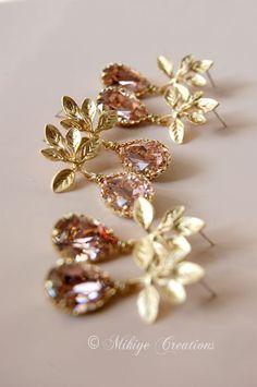 Bridemaid Earrings Vintage Pink Chandelier by MikiyeCreations, $91.80