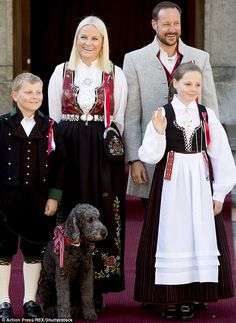 Crown Princess Mette Marit, Crown Prince Haakon, Prince Sverre, Princess Ingrid Alexandra and dog Milly all celebrate Nowegian Constitution day