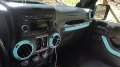 Tiffany blue accents in Jeep JK unlimited                                                                                                                                                     More