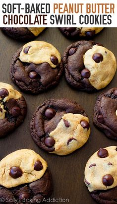 Soft Baked Peanut Butter Chocolate Swirl Cookies by sallysbakingaddiction.com