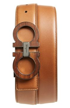 Salvatore Ferragamo Wood Inlay Double Gancio Leather Belt