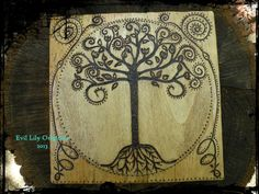 Tree of Life Woodburned Folk Art Decor Altar by EvilLilyOriginals, $45.00