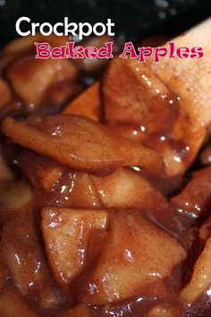 Crockpot Baked Apples, we reduced the sugar and used all brown sugar. It took about hours on high in the crockpot. Crock Pot Food, Crock Pot Desserts, Crock Pot Slow Cooker, Slow Cooker Recipes, Cooking Recipes, Slow Cooker Apples, Slow Cooker Turkey, Cooking Games, Cooking Classes
