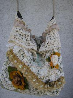 Slouchy Doily Bag boho bag vintage cotton doilies crochet bobbin lace handmade granny shoulder bag. $70.00, via Etsy.