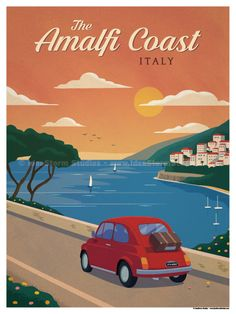 Amalfi Coast Poster by IdeaStorm Studios ©2017. Available for sale at ideastorm.bigcartel.com