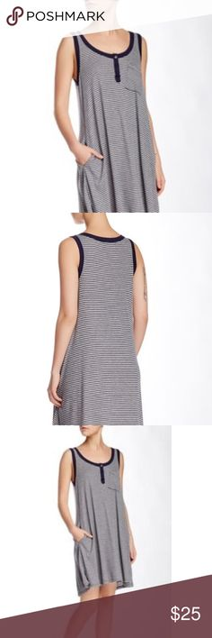 Brand New Socialite Sleeveless Henley Dress Brand New Grey/Navy Socialite Henley Dress.  Lightweight and Airy.  Perfect for picnics, pool, or beach day Socialite Dresses Midi