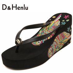 {D & H} 2016 Nova Impressão das Mulheres Flip Flops Sandálias Das Mulheres Sandálias Plataforma de Alta Cunhas Sapatos Skid sapatos Chinelos de Praia Mulher