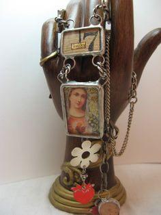Madonna and sacred heart necklace re purposed by shadesofakasha, $145.00