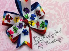 My new AUTISM awareness hairbow!  Can be found on Giggly Girl Bowtique Facebook page!