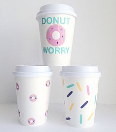 Donut-themed paper coffee cups