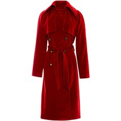 Rosie Assoulin Red Velvet Trench Coat (€2.695) ❤ liked on Polyvore featuring outerwear, coats, red trench coat, oversized trench coat, red trenchcoat, red coat e oversized coat