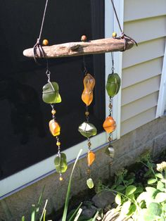 Glass Mobile Art Glass Sea Glass Recycled by TrailGlassTreasures