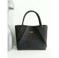 Handmade Dark Grey, Felt Tote Bags, Geometric Bag, Shopper Bag, Felt Shopper, Felt Shoulder Bag, Carry All Bag, Hand Bag, Gift For Women