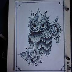 Resultado de imagem para desenhos de corujas tatuadas