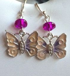 Silver Butterfly Earrings Spring Colors Pastel Pink Purple Plated Hypoallergenic #Unbranded #DropDangle