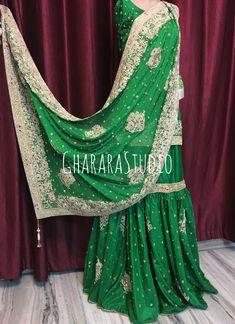 24b4ba8af4 Gharara in Pure silk with heavy dabka handwork embroidery. ORDER ONLINE.  Whatsapp at 9971865919