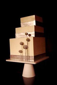 Modern Brown Gold Square Wedding Cakes Photos