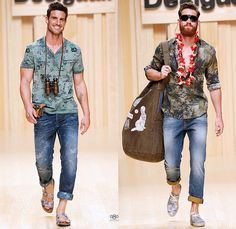 Desigual 2015 Spring Summer Mens Runway Catwalk Looks - 080 Barcelona Fashion Catalonia Catalan Spain - Printed Denim Jeans Tropical Palm Trees Leaves Foliage Pineapple Parrot Graffiti Drawings Henley Shirt Tourist Traveler Duffel Bag Graphic Print Pattern Pop Art Fish Flowers Florals Stripes Beach Vacation Outerwear Blazer Shorts Hawaiian Leis Sandals Field Jacket Fanny Pack Beltbag Waist Pouch Manskirt Kilt Pau Lauhala Fruits Mermaid Plaid