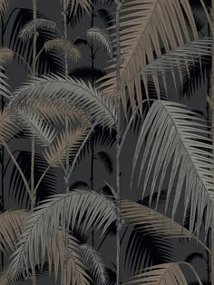 Palm Jungle by Cole & Son. The original Cole & Son Palm Leaves print has been multi layered to create a dense jungle of foliage. Palm Wallpaper, Cole And Son Wallpaper, Tropical Wallpaper, Metallic Wallpaper, Wallpaper Online, Original Wallpaper, Black Wallpaper, Wallpaper Roll, Pattern Wallpaper