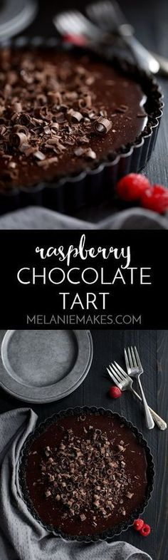 This six ingredient Raspberry Chocolate Tart couldn't be easier or more decadent! A chocolate cookie crust holds a puddle of raspberry chocolate ganache that's then showered with chocolate curls and garnished with fresh raspberries.