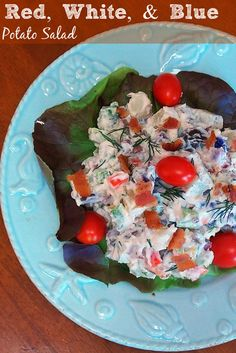 Red White Blue Potato Salad is a patriotic salad full of amazing flavor from dill and bacon in a mayonnaise based dressing. Summer Recipes, Great Recipes, Favorite Recipes, Family Recipes, Potato Recipes, Vegetable Recipes, Bacon Recipes, Side Dish Recipes, Dinner Recipes
