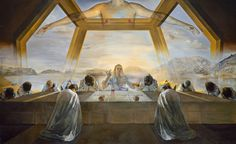 Purchased in 1956 by the National Gallery of Art in Washington, The Sacrament of the Last Supper, an oil painting by Salvador Dal; was painted after Dali embraced Catholicism. Salvador Dali Oeuvre, Salvador Dali Kunst, Salvador Dali Paintings, National Gallery Of Art, National Art, Art Gallery, Dali Prints, Arte Pop Up, Les Religions