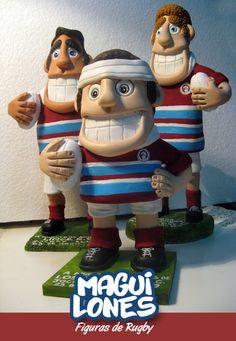 MULECOS de RUGBY_Figuras diseñadas con masilla epoxi y pintadas a mano. Muñeco Rugby - Figura de Rugby - CHARACTER DESIGN