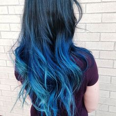 Blue Ombre Tips on Long Hair