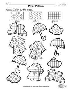 Pitter Pattern, Lesson Plans - The Mailbox Montessori Activities, Preschool Worksheets, Preschool Activities, Childhood Education, Kids Education, Learning Through Play, Kids Learning, Coloring Books, Coloring Pages