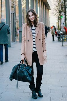 Paulien's classic layers, coupled with a bit of hard edge and on trend oversized camel coat are magical.