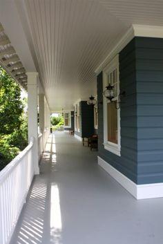 traditional porch by Rugo/ Raff Ltd. Architects, blue siding, white trim, grey floor via houzz