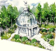 Trade Stand Chelsea 2014 Watercolour - Society of Architectural Illustration