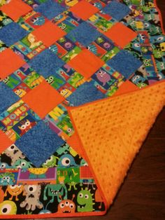 Monsters Orange Backed Minky Quilt  34 x 46