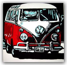 VOLKSWAGEN CAMPER BUS SURFBUS ART Original Handpainted