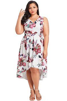 Floral Print Plus Size Women Vintage Summer Dress V Neck Sleeveless White   Unbranded  PartyCocktail 13fc876d7