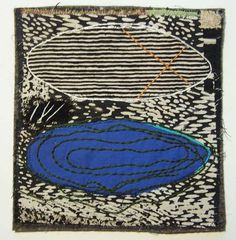 Dorothy Caldwell, The Lake/The Moon, 2005, applique, stitching, 8.25 X 7.75 in., Framed 10 X 10 in.