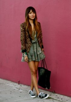 Leopard blazer, dress & tennis shoes