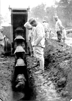 A large French digging machine building trenches on the western front during World War I.