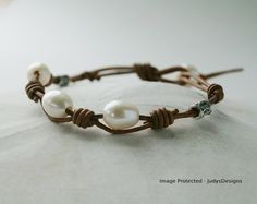 Leather pearl and sterling silver handmade bracelet by JudysDesigns sold on etsy.com