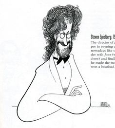 Al Hirschfeld ~ Steven Spielberg, for Entertainment Weekly Funny Caricatures, Celebrity Caricatures, Celebrity Drawings, Caricature Artist, Caricature Drawing, Colored Pencil Techniques, Art Drawings, Horse Drawings, Drawing Art