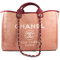 Pre-Owned Chanel Deauville Medium Tote In Red ($1,780) ❤ liked on Polyvore featuring bags, handbags, tote bags, red, red tote, summer handbags, summer totes, chanel purses and chanel tote bag