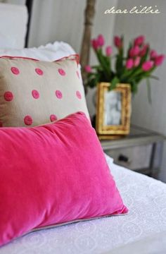 A Little More Progress in the Guest Bedroom and some Valentine's Cards by Dear Lillie Bedroom Green, Wood Bedroom, Bedroom Bed, Girls Bedroom, Master Bedroom, Purple Bedspread, Pink Bedding, Bedroom Color Schemes, Bedroom Colors